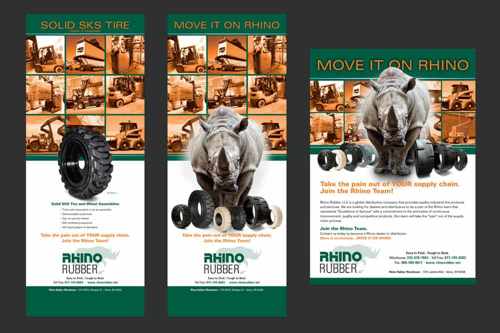 Rhino Rubber popup banner and advertisement