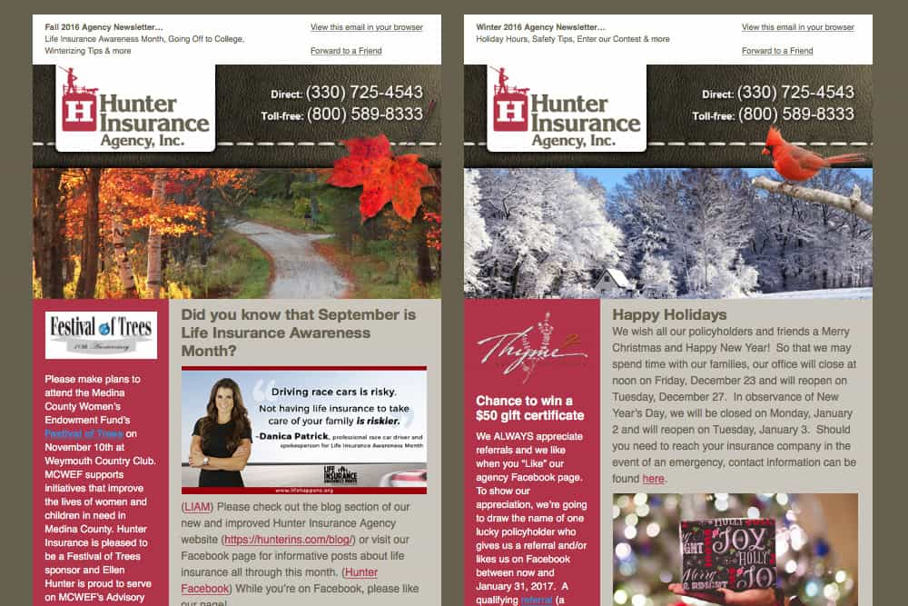 Hunter Newsletter campaigns email marketing