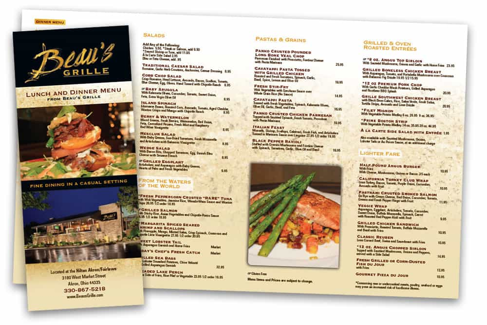 Beau's Grille lunch and dinner to go menu print design